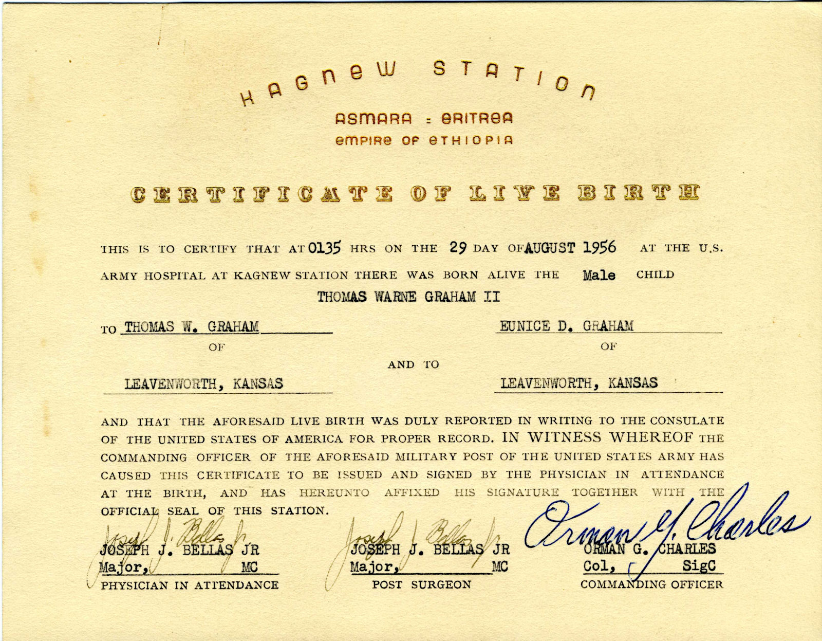 Kagnew station asmara eritrea ethiopia maternity ward 12910 just received an official kagnew birth certificate courtesy of tom graham go to the other documents page or aiddatafo Gallery